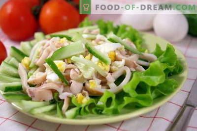 Salades de calamars - les meilleures recettes. Comment cuire correctement et savourer des salades de calamars.