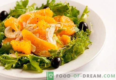 Salade aux oranges - recettes éprouvées. Comment faire cuire une salade avec des oranges.