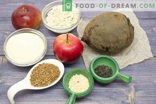 Côtelettes de betterave avec pommes et graines de lin