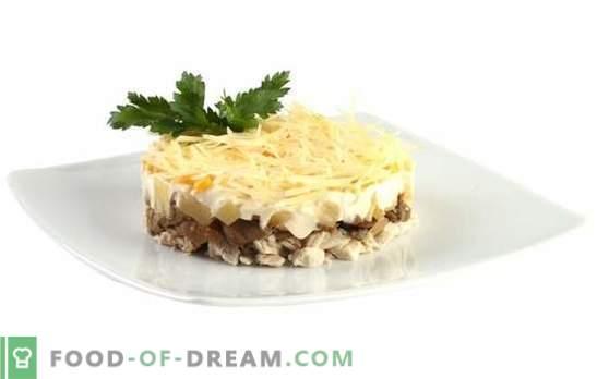 Salade facile et juteuse au poulet, ananas et champignons. Recettes simples de différentes salades au poulet, ananas, champignons