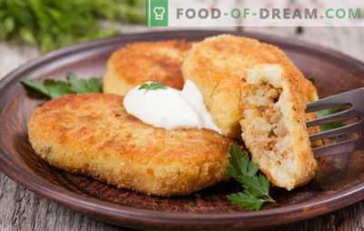 Pommes de terre zrazy avec de la viande - un plat idéal pour les collations. Recettes Pomme de terre zraz à la viande: au four et à la poêle