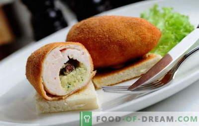 Poulet Kiev côtelettes à base de viande hachée - poulet, porc, mélangées. Recettes simples pour boulettes de viande à la kiev - cuire au four, faire frire