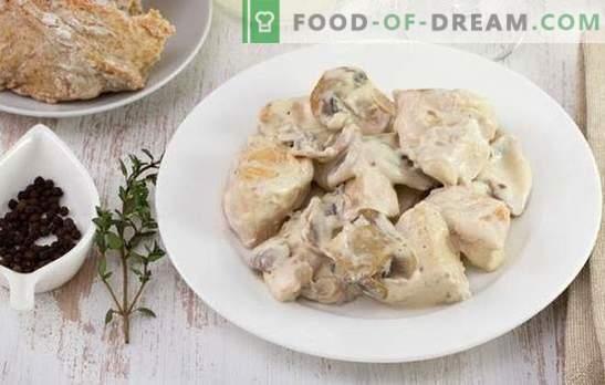Stroganoff au poulet et au bœuf - un plat pour tous les goûts et tous les budgets. Poulet Stroganoff à la crème sure, oignons, champignons, tomates