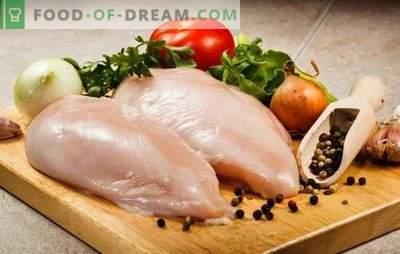 Que faire cuire les filets de poulet rapidement et savoureux? Cuisson filet de poulet délicieux pain, brochettes au four, salades rapides et faciles