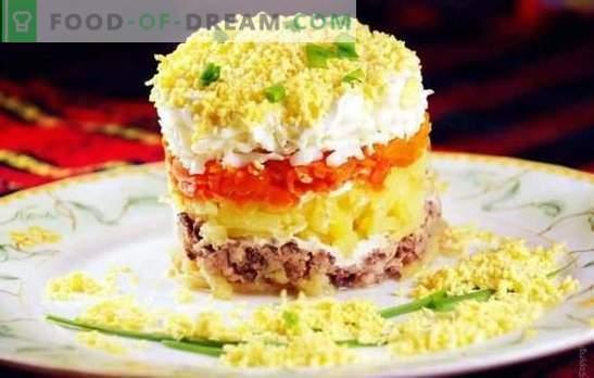 Salade de mimosa en conserve: Une recette pas à pas. Variantes de salade de cuisine