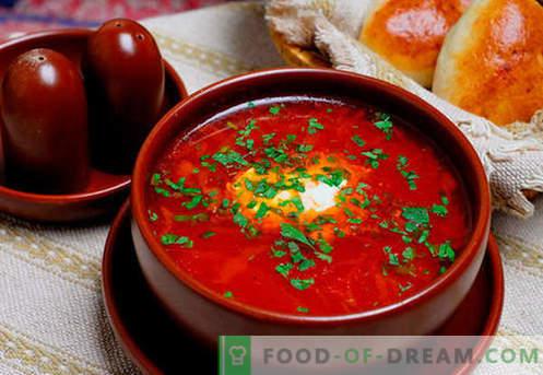 Borsch vert, rouge, maigre, ukrainien - les meilleures recettes. Comment bien et savoureux cuire la soupe avec des haricots, des champignons, l'oseille dans une mijoteuse.