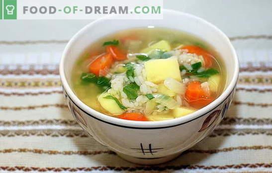 Soupe avec riz et pommes de terre: rapide, savoureuse et saine. La cuisson de la soupe avec du riz et des pommes de terre est un processus simple et rapide