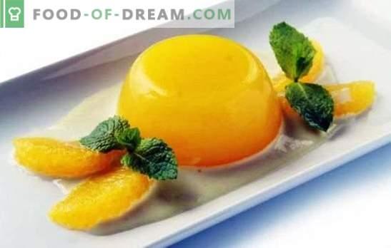 La gelée aux oranges est un dessert léger et sain. Comment faire cuire la gelée avec des oranges et des recettes avec lui