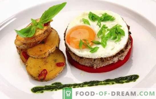 Bifteck avec œuf: 2 en 1! Recettes de différents steaks avec des œufs de bœuf, de porc, de poulet, de riz, de betterave, en français