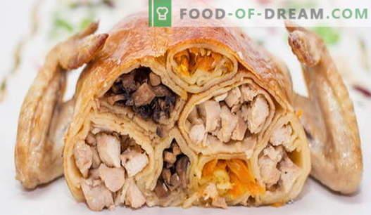 Poulet farci - les meilleures recettes. Comment faire cuire le poulet farci au four.