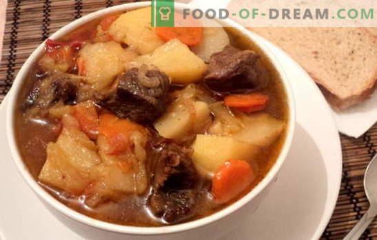 Le ragoût avec pommes de terre et viande est satisfaisant et sain. Diverses recettes pour cuisiner des ragoûts avec des pommes de terre et de la viande: simple et complexe