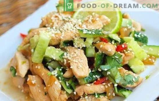 Salade avec poitrine de poulet et concombres - un apéritif qui n'a pas honte de le traiter. Les meilleures recettes pour les salades avec poitrine de poulet et concombre