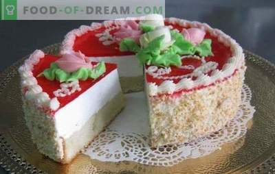Gelée de gâteaux avec biscuit - douce fraîcheur! Gelée de gâteaux aux biscuits et aux baies, crème, fruits, fromage cottage, crème sure