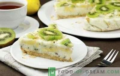 Gâteau au kiwi et à la banane - sucré, parfumé et frais! Recettes de fromage cottage, biscuit, yaourt, gâteaux paresseux avec kiwi et bananes