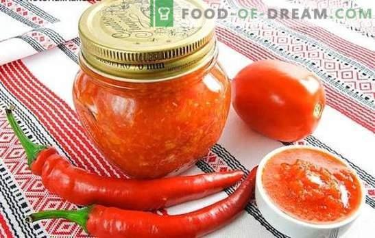 Adjika pour l'hiver sans cuisson: bénéfice maximum et minimum cuisson. Diverses recettes pour cuisiner l'adzhika pour l'hiver sans faire bouillir