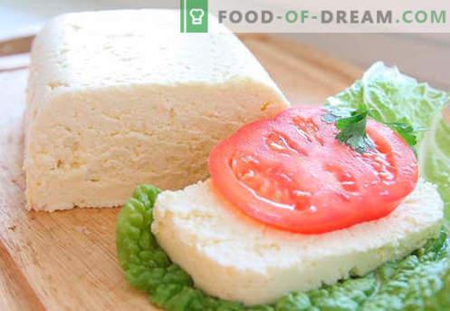 Fromage fait maison - les meilleures recettes. Comment bien cuire du fromage à partir de fromage cottage ou du lait à la maison.