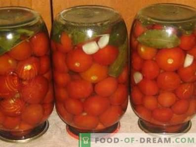 Tomates salées pour l'hiver en rives