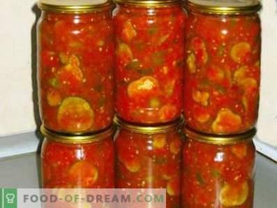 Concombres à la sauce tomate pour l'hiver