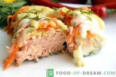 Saumon rose au four avec des légumes