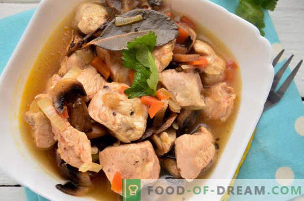 Poulet cuit aux champignons