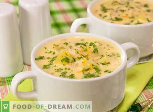 Soupe au fromage - les meilleures recettes. Comment bien et cuire la soupe au fromage.